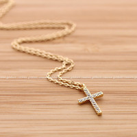 girlsluv.it - simple CROSS necklace withy crystals, 2 colors