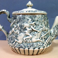 Antique Tea Pot with Haunting Scene, Very Old and Unusual, Holiday Sale