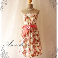 Rose Dresses White Old Rose Pink Rose Dress Floral Tea Dress Vintage Inspired Vintage Simply Classy Floral Strapless Dress -XS-S-