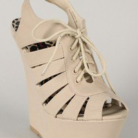 Dollhouse Dramatic Strappy Cut-Out Platform Slingback Wedge