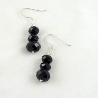 Black Crystal Dangle Earrings by theotherstacey on Etsy