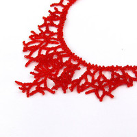 Red Necklace.  Beadwork.  Handmade Jewelry.