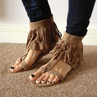 Brand New Fringed Suede Leather Tassle Navajo Style Sandals from JoannaGN