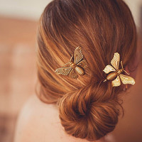 Gold Butterfly Bobby Pins - Bridal and Everyday Accessories 2013
