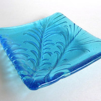 Light Turquoise Fused Glass Feather Imprint Square Plate