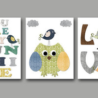 "You Are My Sunshine Baby Boy Nursery art print Children Wall Art Baby Room Decor Kids Print set of 3 8"" x 10"" owl bird Grey yellow"