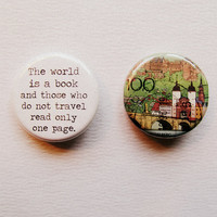 Travel & Town Button Set The world is a book by LitPrints on Etsy