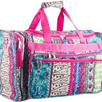 Amazon.com: Pink Patchwork Duffle Carrying on Travel Bag - 19&quot;: Clothing