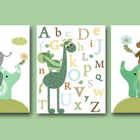 Elephant Giraffe Baby Boy Nursery art print Childrens Wall Art Baby Room Decor set of 3 8x10 elephant giraffe nursery alphabet nursery green