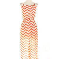 New Zig Zag Maxi With Side Slit - Coral | Bellum&Rogue