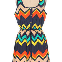 Navy/Green/Yellow Chevron Dress | Bellum&Rogue