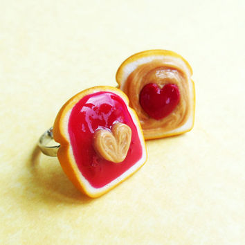 ... jam peanut butter and jelly best friend rings bff polymer clay HEARTS