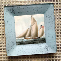 Sailboat American Flag Art / Decoupage Plate Wall Hanging / Nautical Decor / Vintage Boat Painting / sailor patriotic antique boat