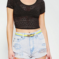 Sparkle &amp; Fade Geo Mesh Cropped Tee