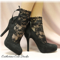 "BLACK  Baby doll Lace socks for heels retro 80""s look Holiday parties stretch lace socks flats or heels catherine cole studio FT5"