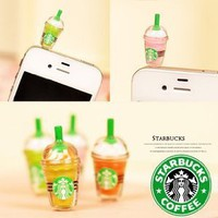 6 pcs (whole set) StarBucks Frappuccino, Milk Cell Phone Charm 3.5mm Anti Dust Earphone Jack Plug iphone 4 4S