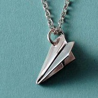Tiny Paper Airplane Pendant/Necklace by mxmjewelry on Etsy