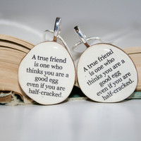 Best friend necklace set wood Customized gift by starlightwoods