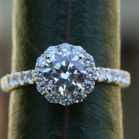 Platinum CUSTOM Made - Diamond Engagement Ring  Semi Mount Setting- .61carat  Round - Flower Halo - Pave - Antique Style - Bp0014