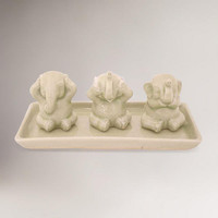 "Novica ""Elephant Life Lessons"" Celadon Ceramic Figurine Set 