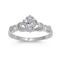 .925 Sterling Silver Claddagh Ring with Clear Cz Heart Stone Size 4,5,6,7,8,9,10; Comes with Free Gift Box: Jewelry