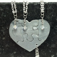 Heart Shaped Puzzle Necklaces Set of 4 Interlocking Necklaces Silver Polymer Clay with Swarovski Crystals