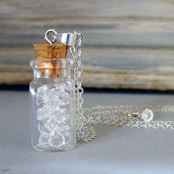 Glass Bottle Pendant Necklace With Swarovski Crystals, April Birthstone Necklace