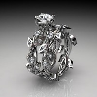 14k white gold diamond leaf and vine wedding ring,engagement ring,......