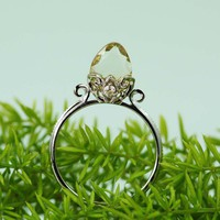 Silver Citrine White CZ Arrow Ring