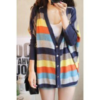 The oversize color block stripe Cardigan