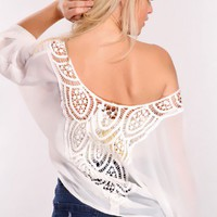 White Sheer Off Shoulders Top