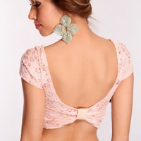 Peach Floral Lace Crop Top