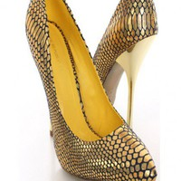 Gold Metallic Snake Skin Pump Heels