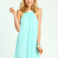 Pearl Collar Chiffon Dress