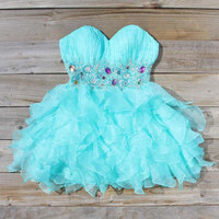 Spool Couture Mint & Chiffon Dress, Sweet Women's Party Dresses
