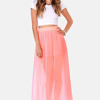 Bright Your Sources Neon Coral Maxi Skirt