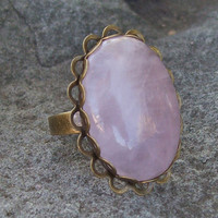 Large Cabochon Rose Quartz Lace Ring - Adjustable Band