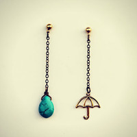 umbrella earrings, turquoise earrings, rain earrings, dangle earrings, asymmetrical, unique earrings, vintage style earringsyle earrings