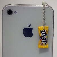 Kawaii M&M PEANUT CANDY Iphone Earphone by fingerfooddelight