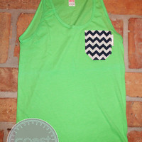 Neon Green Tank with Navy/White Chevron Fabric Pocket
