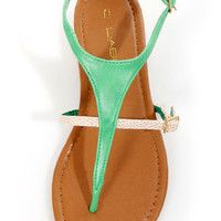 C Label Cabana 2A Green and Yellow Snake Thong Sandals