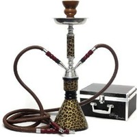 "Amazon.com: Never Exhale 17"" Premium 2 Hose Hookah Shisha Complete Set with Travel Case - Cheetah Leopard Tiger Animal Art - Choose Your Beast (Golden Cheetah Brown): Health & Personal Care"