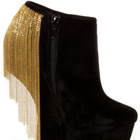 Privileged Moks Black Chain Dangling Heelless Platform Booties