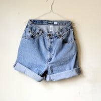 90s vintage high waisted denim short - Loose/ Turned up hem