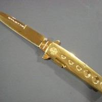 GOLD Milano Handle & Blade SPRING ASSIST OPENING POCKET KNIFE - Amazon.com
