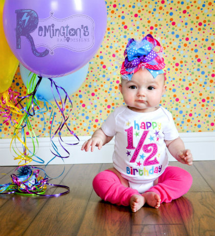 1 2 birthday embroidered shirt or onesuit from for 6 month birthday decorations