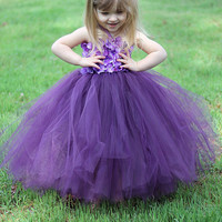 Beautiful super full hydrangea flower girl tutu dress-plum-purple- made to order- custom choose your colors-pageant- birthday- wedding-