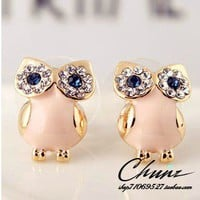 sweet fashion owl rhinestone earrings