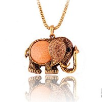 retro rhinestone elephant pendant necklace