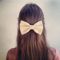 Beige BIG Bow - hair bow (S-N-01)